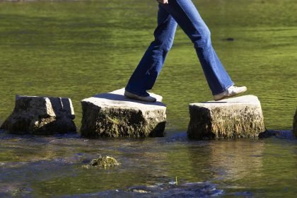 image shows a person from the waist down stepping on three stones over a river